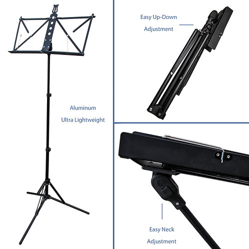 Paititi Brand New Strong Durable Adjustable Folding Music Stand with Bag