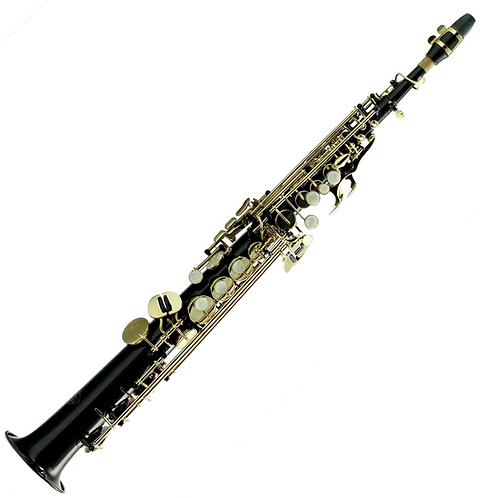 Sky Band Approved Bb Black Lacquered Soprano Saxophone with Case and More