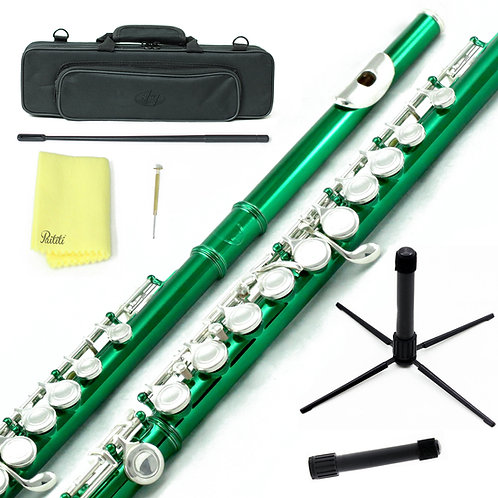 Sky C Foot Green/Silver Flute with Lightweight Case, Cleaning Rod, Cloth Stand