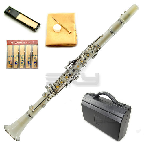 SKY White ABS Bb Clarinet with Case, Mouthpiece, 11 Reeds, Care kit and