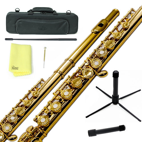 Sky C Foot Gold/Gold Open Hole Flute with Lightweight Case, Cleaning Rod,etc.