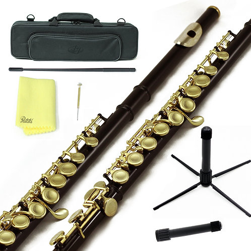 Sky C Foot Black/Gold Flute with Lightweight Case, Cleaning Rod, Cloth and Stand