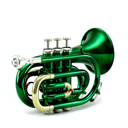 Sky Band Approved Green Lacquer Brass Bb Pocket Trumpet with Case and More