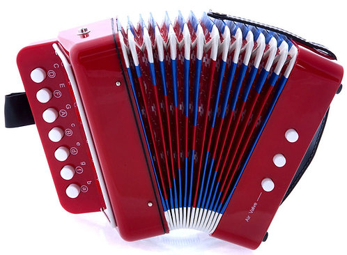 SKY Accordion Red Color 7 Button 2 Bass Kid Music Instrument *Great Gift*
