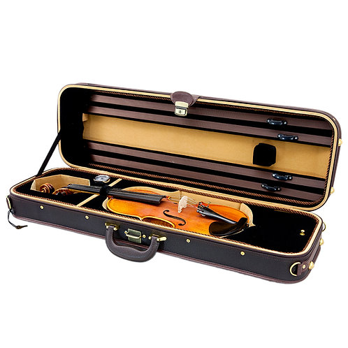 SKY Violin Oblong Case Solid Wood Imitation Leather with Hygrometers Brown/brown