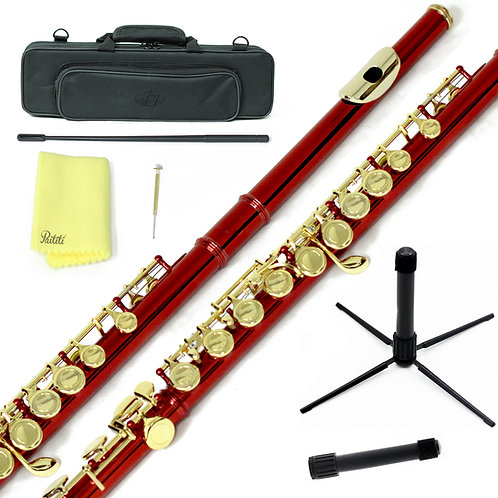 Sky C Foot Red/Gold Flute with Lightweight Case, Cleaning Rod, Cloth, Stand