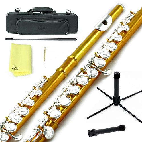 Sky C Foot Orange/Silver Flute with Lightweight Case, Cleaning Rod, Cloth, Stand