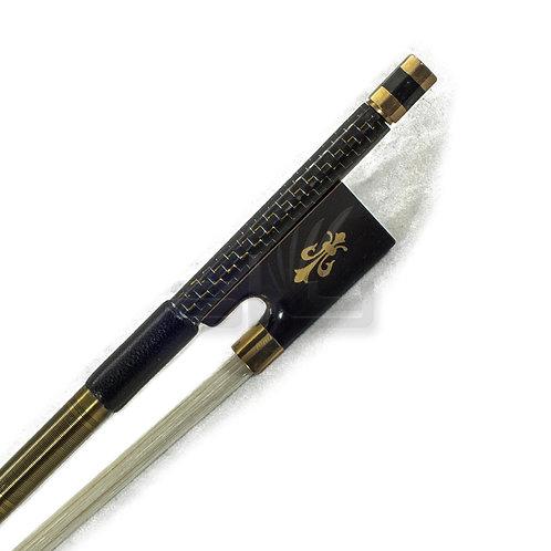 Full Size Violin Bow Carbon Fiber Round Stick Fleur De Lys Fully-Line Frog