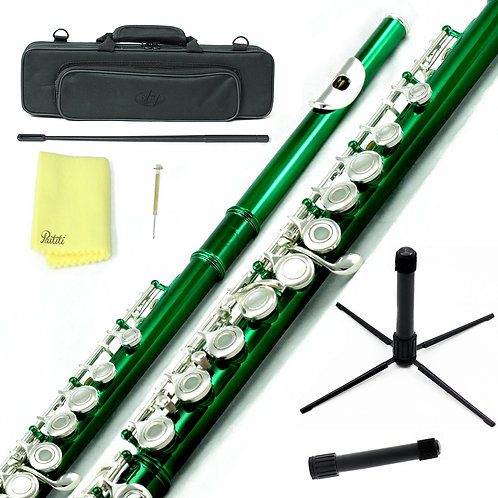 Sky C Foot Green Silver Open Hole Flute with Lightweight Case, Cleaning Rod, etc