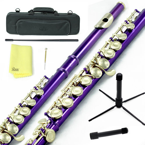 Sky C Foot Purple/Gold Flute with Lightweight Case, Cleaning Rod, Cloth, Stand