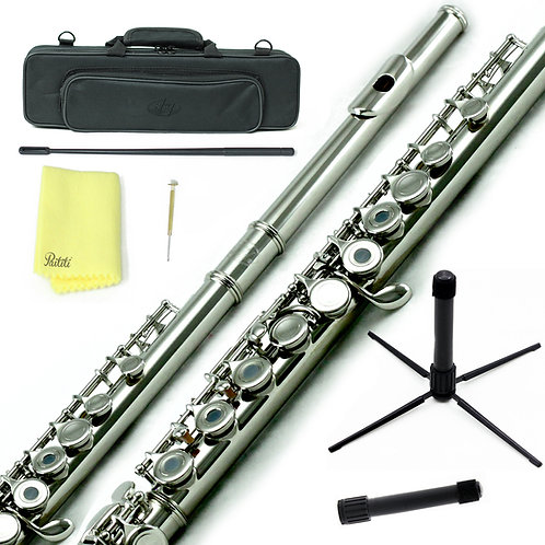 Sky C Foot Nickel Plated Open Hole Flute with Lightweight Case, Cleaning Rod, et