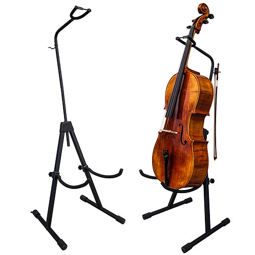 Paititi Adjustable Foldable Stand for Cello with Hook for Bow - Black