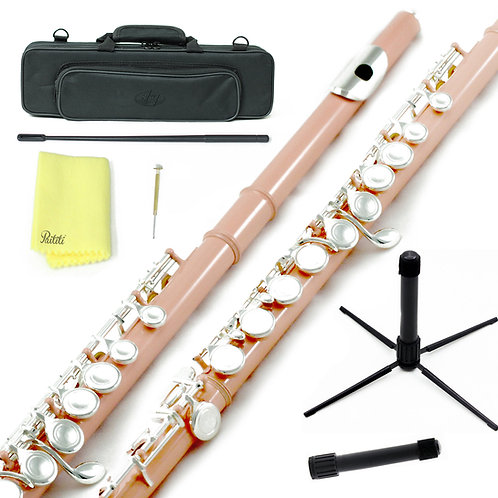 Sky C Foot Light Pink/Gold Flute with Lightweight Case, Cleaning Rod, Cloth