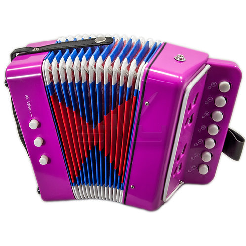 SKY Accordion Pink Color 7 Button 2 Bass Kid Music Instrument *Great Gift*