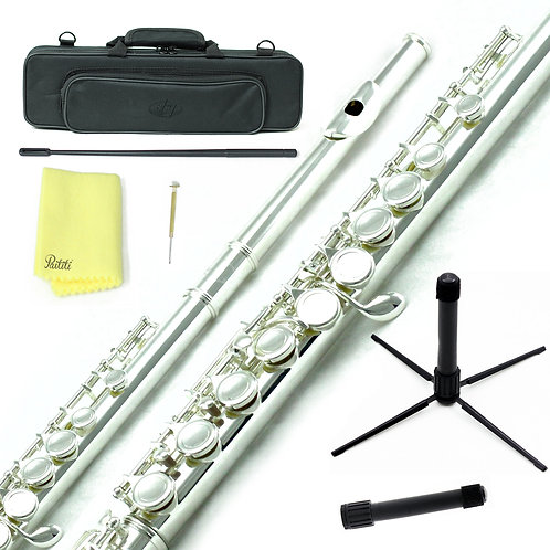 Sky C Foot Silver Flute with Lightweight Case, Cleaning Rod, Cloth and Stand