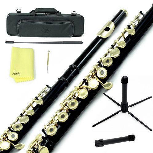 Sky C Foot Black Gold Open Hole Flute with Lightweight Case, Cleaning Rod etc.