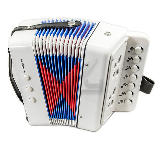 SKY Accordion White Color 7 Button 2 Bass Kid Music Instrument *Great Gift*