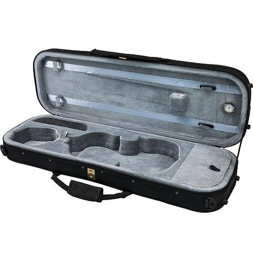 SKY 4/4 Full Size Violin Oblong Case Lightweight with Hygrometer Black/Grey