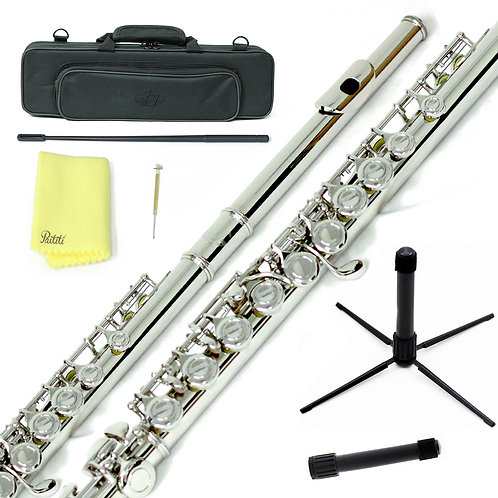 Sky C Foot Nickel Flute with Lightweight Case, Cleaning Rod, Cloth and Stand