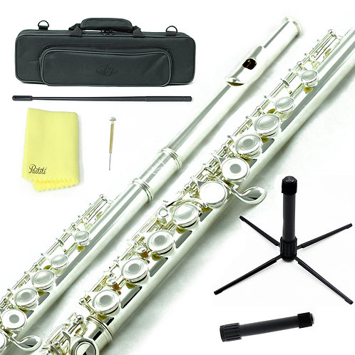 Sky C Foot Silver Open Hole Flute with Lightweight Case, Cleaning Rod and More