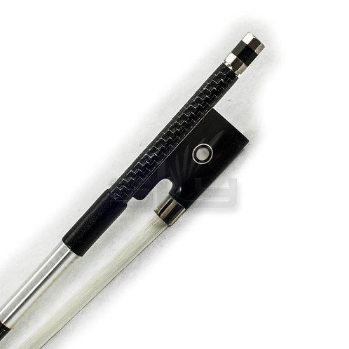 Full Size Violin Bow Carbon Fiber Round Stick Silver Inlay Ebony Frog