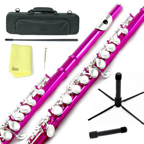 Sky C Foot Hot Pink/Silver Flute with Lightweight Case,Cleaning Rod,Cloth,Stand