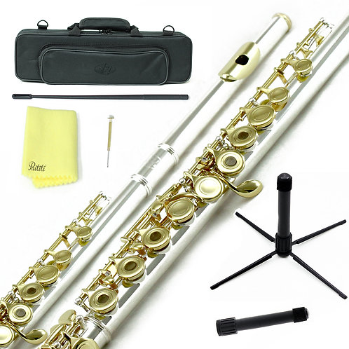 Sky C Foot Gold Silver Open Hole Flute with Lightweight Case, Cleaning Rod etc.