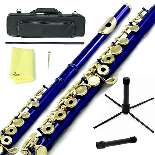 Sky C Foot Blue Silver Open Hole Flute with Lightweight Case, Cleaning Rod, etc.