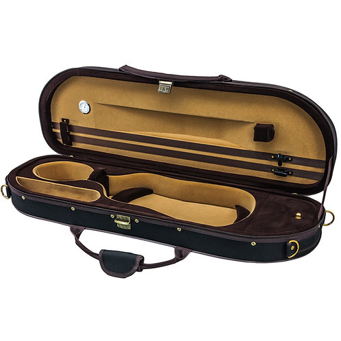 Sky Violin Halfmoon Case VNCHM07 Lightweight with Hygrometer Black/Brown