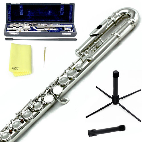Sky C Foot Curved Nickel Flute with Lightweight Case, Cleaning Rod and Stand