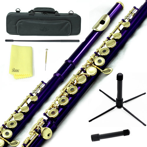 Sky C Foot Purple Silver Open Hole Flute with Lightweight Case, Cleaning R