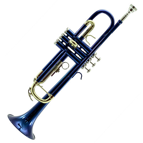 Sky Band Approved Blue Lacquer Plated Brass Bb Trumpet with Case and More