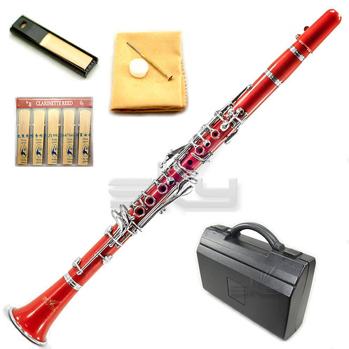 SKY Red ABS Bb Clarinet with Case, Mouthpiece, 11 Reeds, Care kit and
