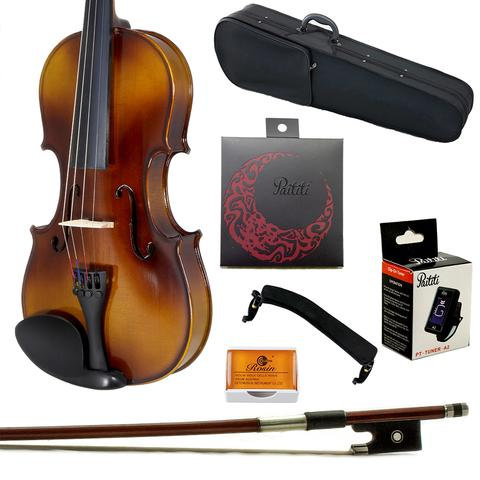 Paititi Master Sound Solid Wood Ebony Fitted Student Plus Violin Kit