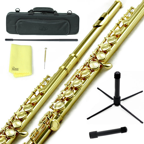 Sky C Foot Gold/Gold Flute with Lightweight Case, Cleaning Rod, Cloth, Stand
