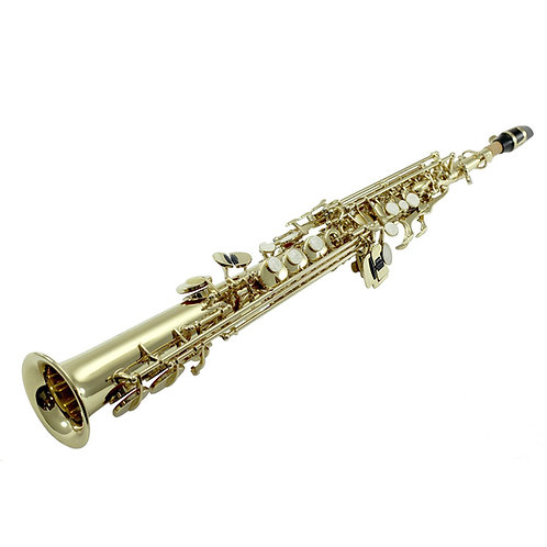 Sky Band Approved Bb Gold Lacquered Soprano Saxophone with Case and More