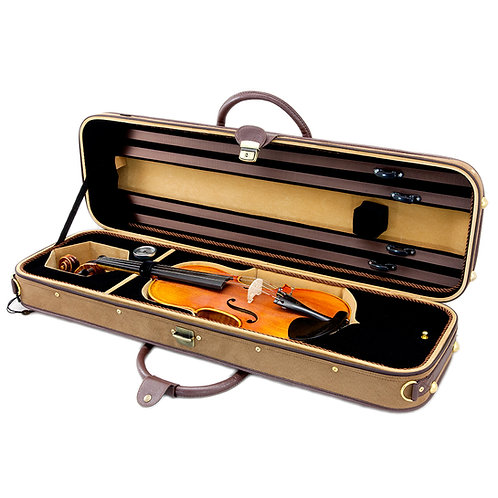 SKY Violin Oblong Case Solid Wood Imitation Buckskin with Hygrometers Brown/brow
