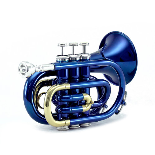 Sky Band Approved Blue Lacquer Brass Bb Pocket Trumpet with Case and More
