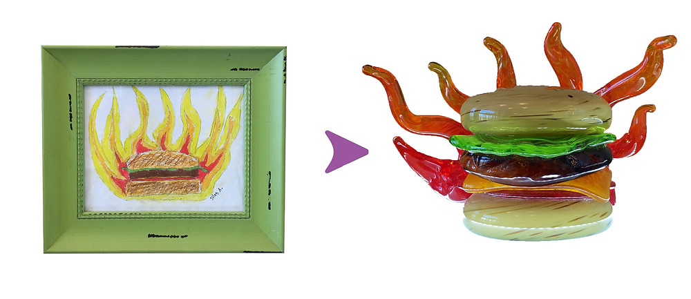 A framed studen't drawing on the left of a burger surrounded by flames is compared next to the hot glass art verion on right.