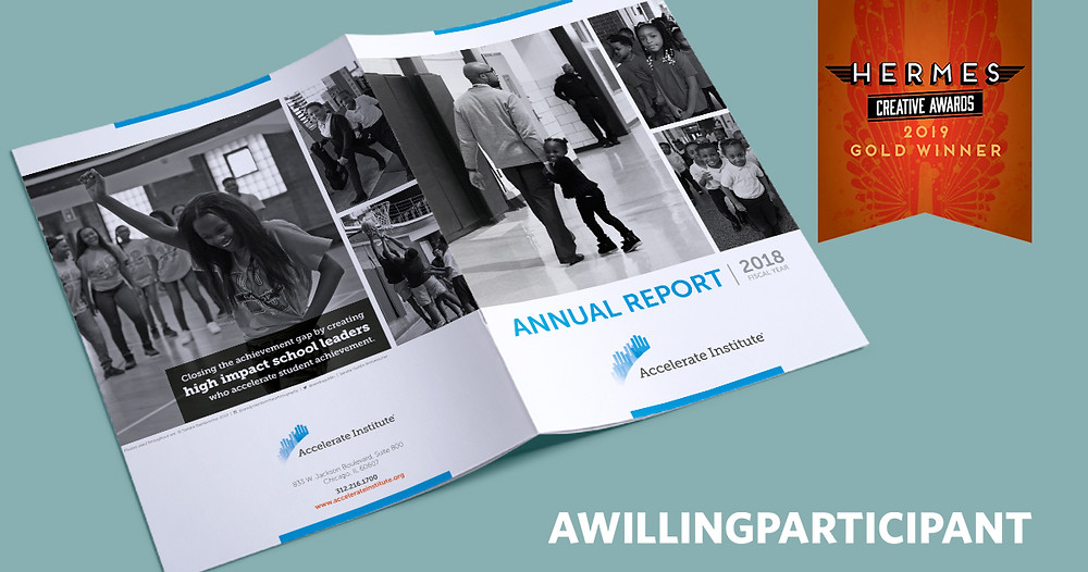 Accelerate Institute's 2018 Annual Report lays open showing front and back covers