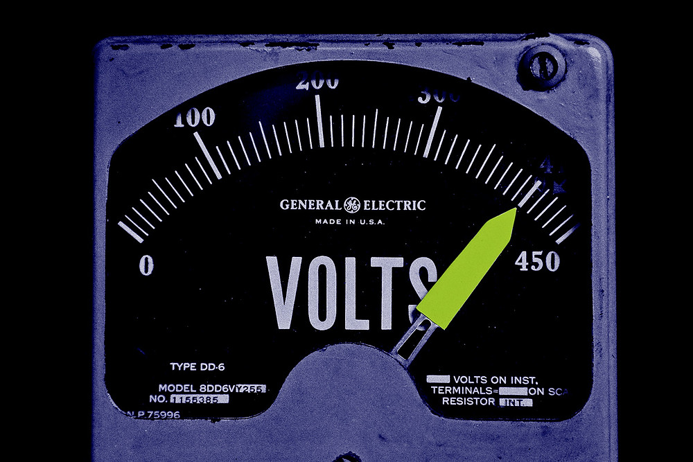 Electric meter displaying near-full power