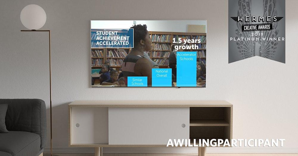 Accelerate Institute documentary displayed on flat-screen television