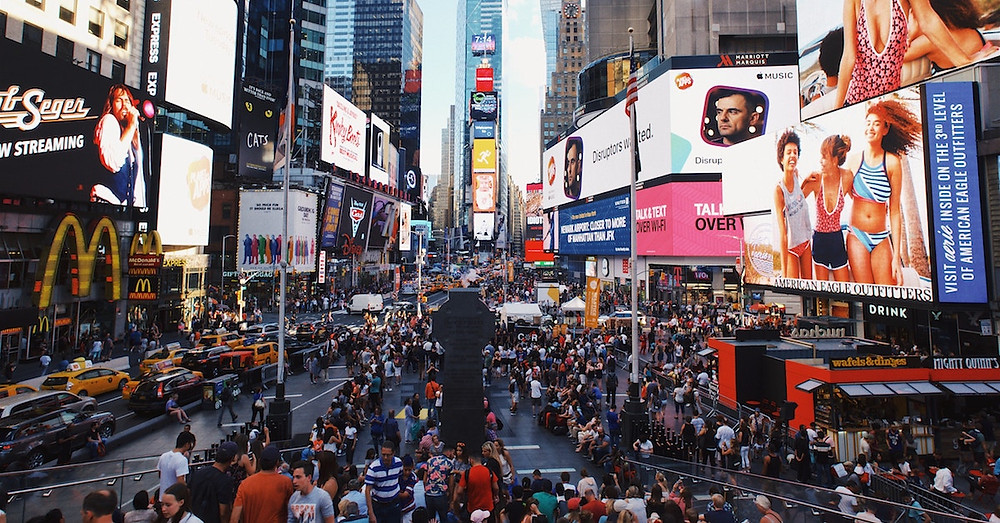 Times Square in New York City bustling with activity