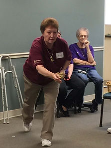 Seniors at the Senior Activity Centers love to play bean bag baseball