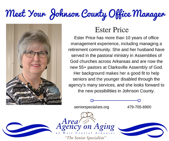 Ester Price Area Agency on Aging Clarksville, Arkansas provides home care for seniors and disable adults