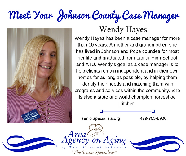 Johnson County Case Manager knows the resources available to seniors and connects them with those resources. She checks on her clients at least monthly to ensure they have what they need to continue to be safe in their own homes