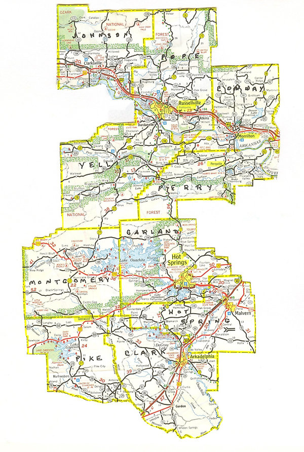 Map of the service area of West Central Arkansas Area Agency on Aging Region VI
