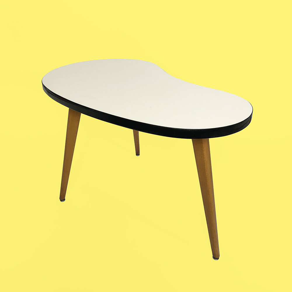 Table appoint rognon haricot années 50 formica tripode