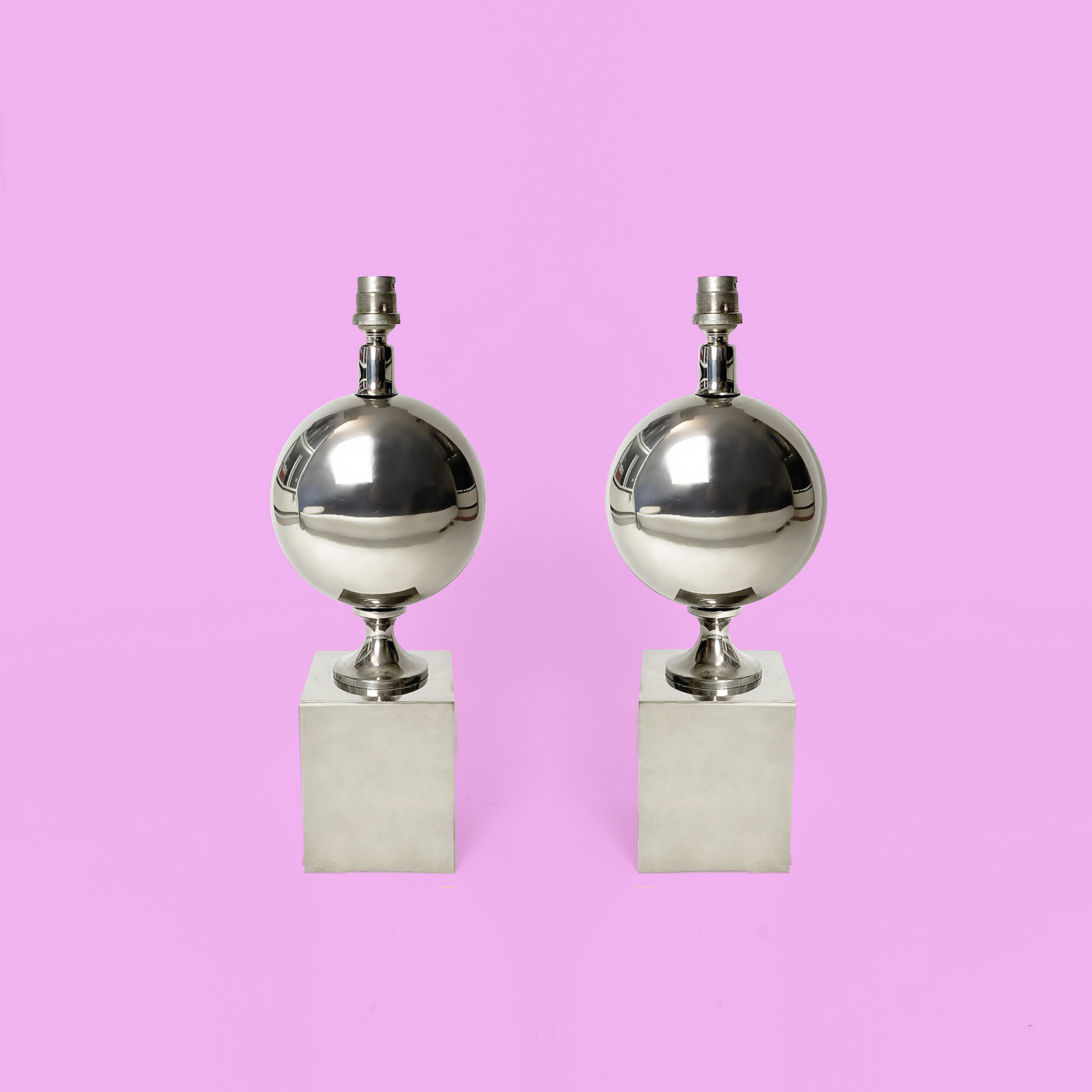 LAMPE BARBIER acier chromé chrome steel lamp