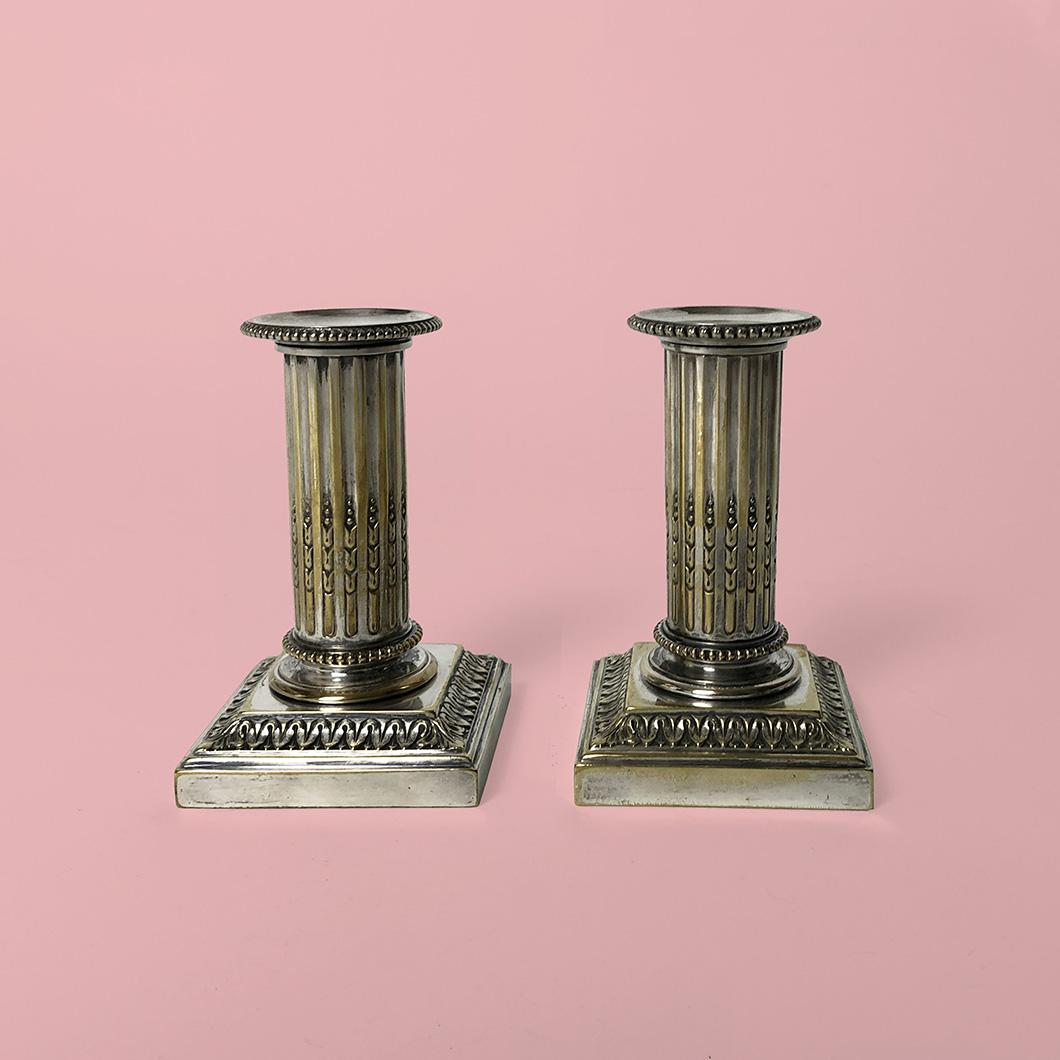 Paire bougeoir Cailar Bayard bronze argenté XIXe siècle
